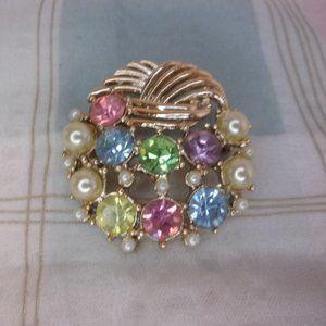 Pastel Rhinestone Faux Pearl Gold Tone Brooch Pin